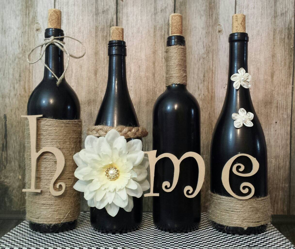 Flowers & Twine 'home' Wine Bottles