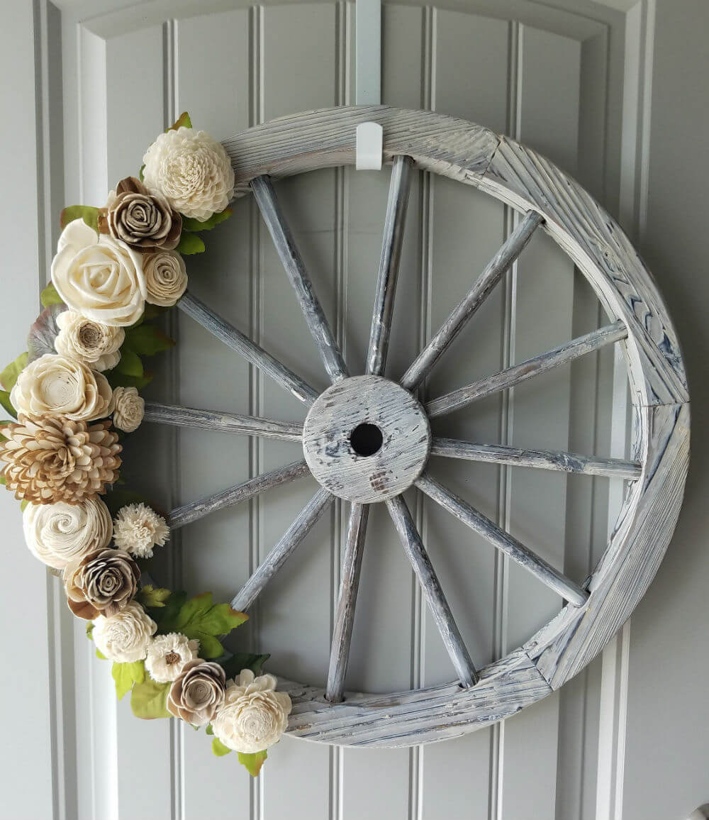 Lovely Handmade Wood Flower Wagon Wheel Wreath