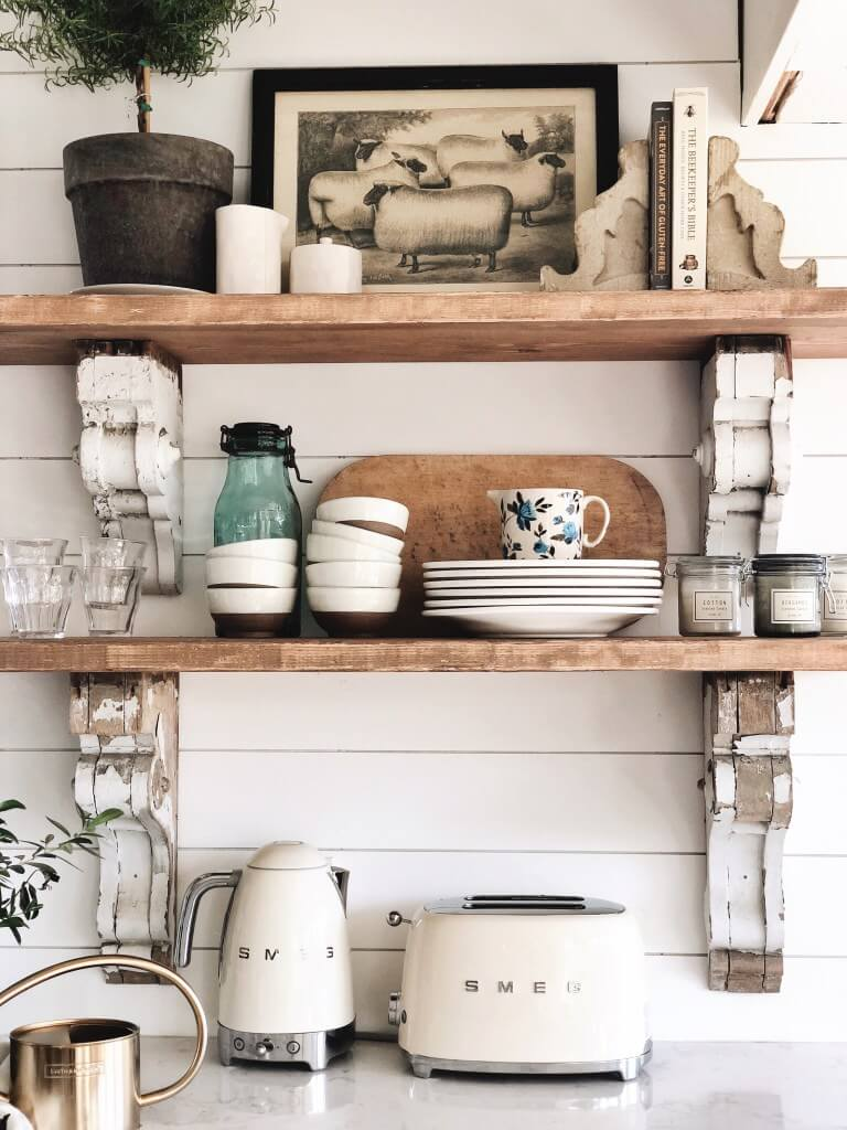 Open Kitchen Shelves with Farm Prints