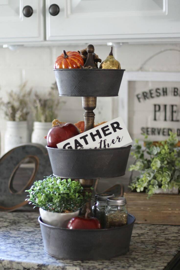 Wood and Metal Layered Fruit Basket Buckets