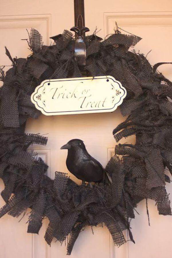 Gothic Bird's Nest Halloween Wreath