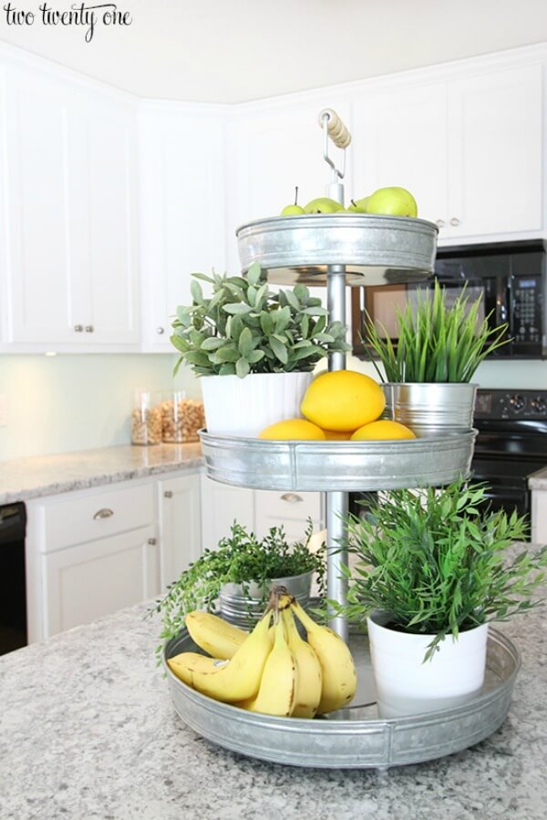 Galvanized Metal Tiered Lazy Susan