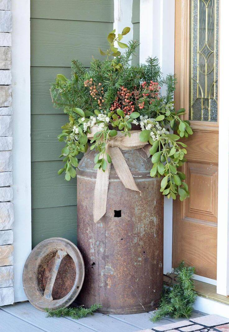 Rustic Milk Can Planter With Evergreens