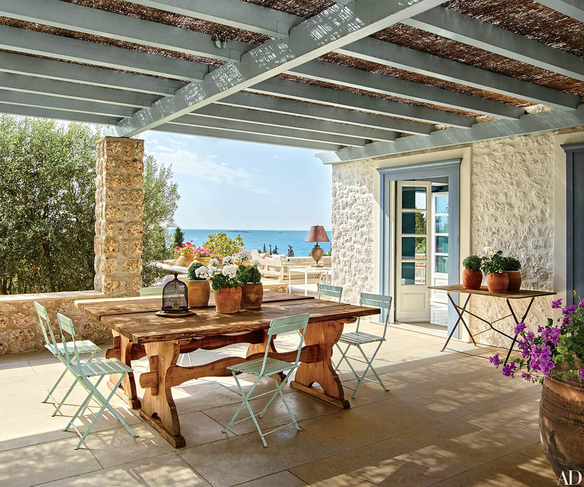 Rustic Table and Chairs with an Ocean View