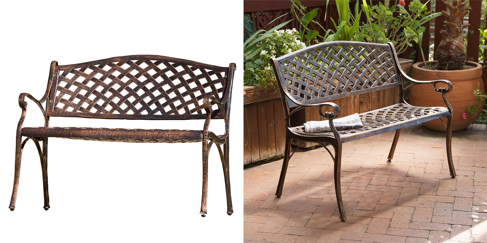 Patio Chair - Copper Finish Cast Aluminum Bench