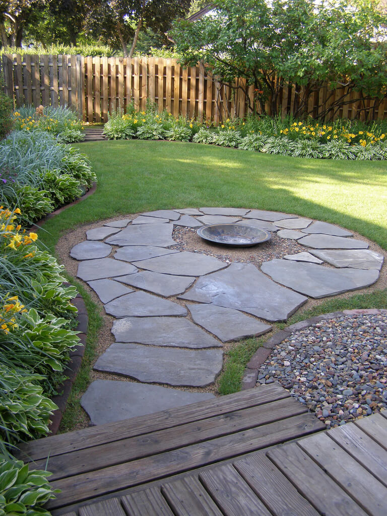 Simplistic Stone Path with a Firepit Center