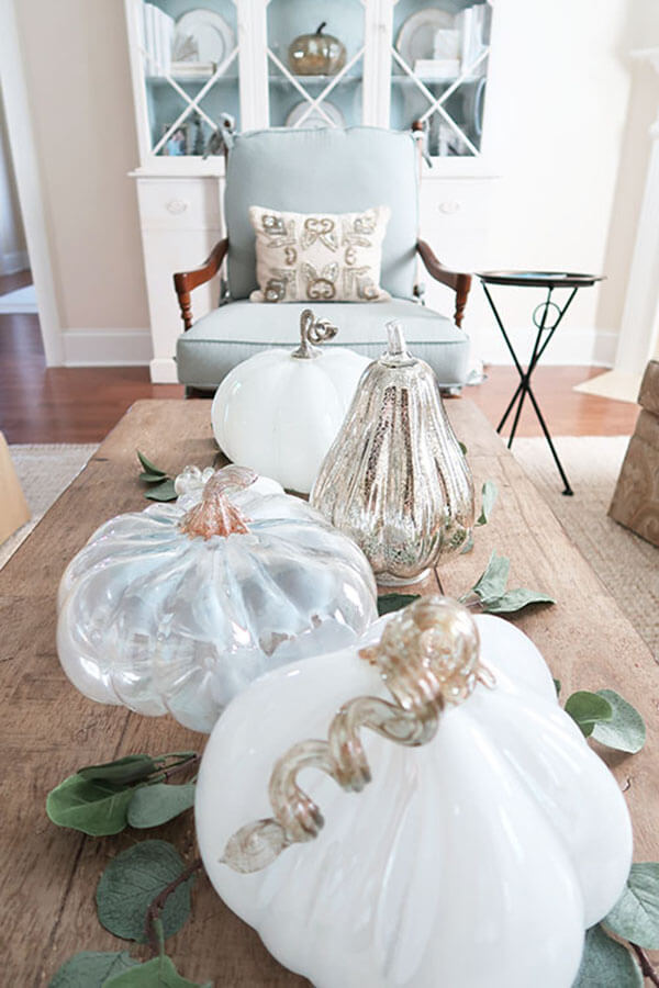 Whimsical Glass Pumpkin Display