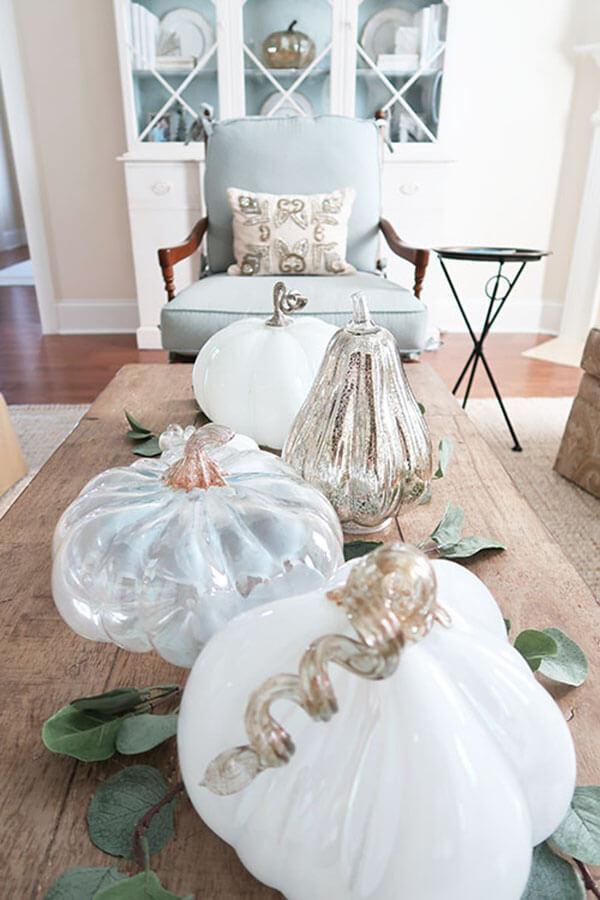 Whimsical Glass Pumpkin Display
