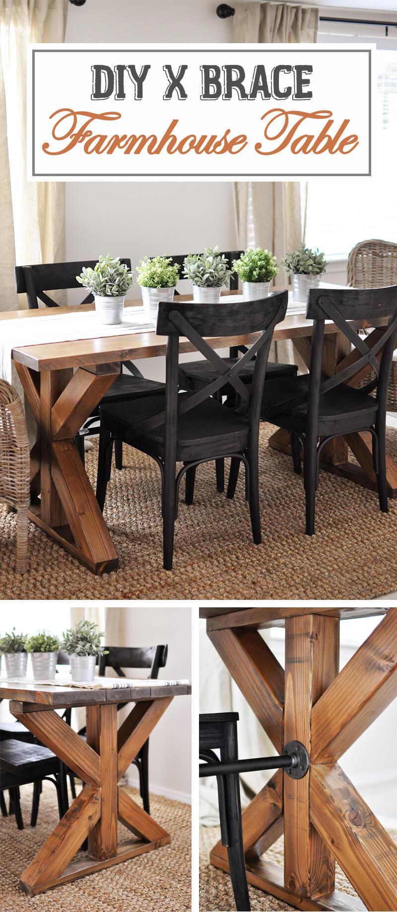 X-Brace Accent Farmhouse Table Design