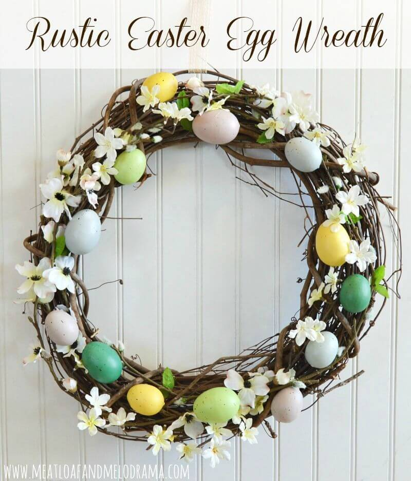 Twigs, Spring Flowers, and Easter Eggs Wreath
