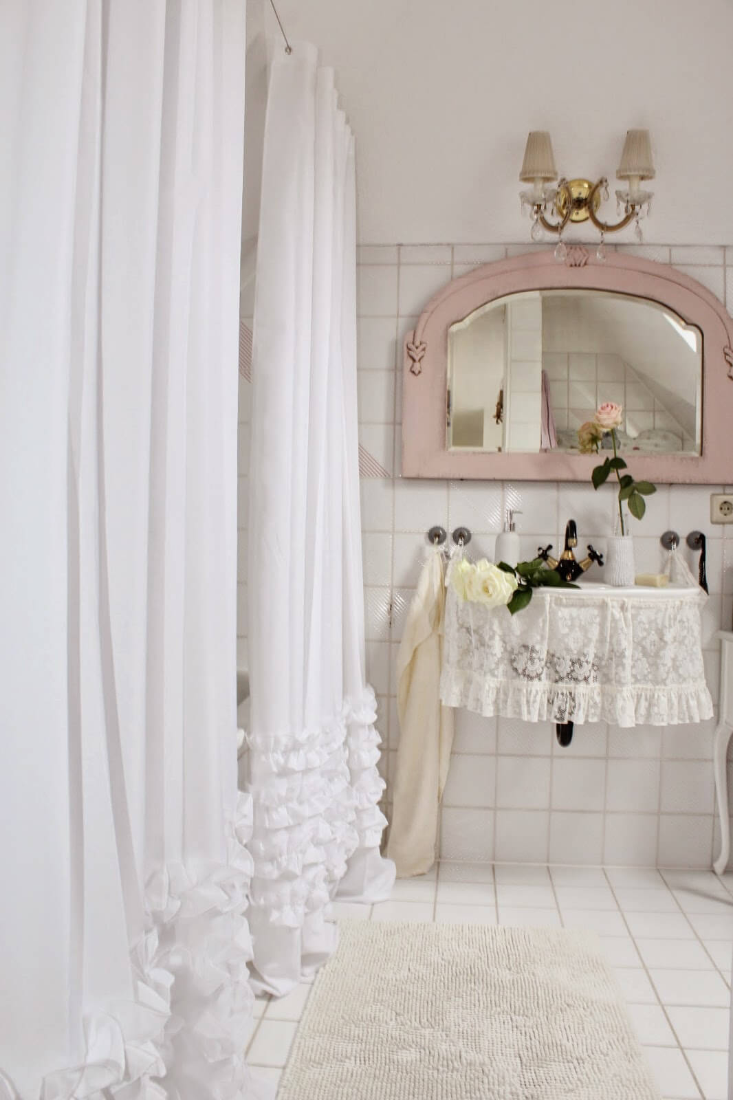 Pretty Ruffled Shower and Sink Curtains