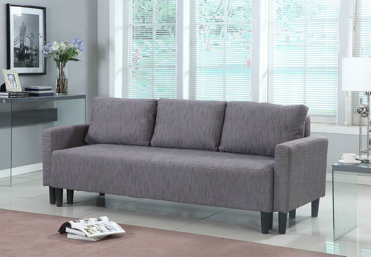 Sleeper Sofa - Modern Contemporary Upholstered Quality Sleeper Sofa Futon in Grey-Brown