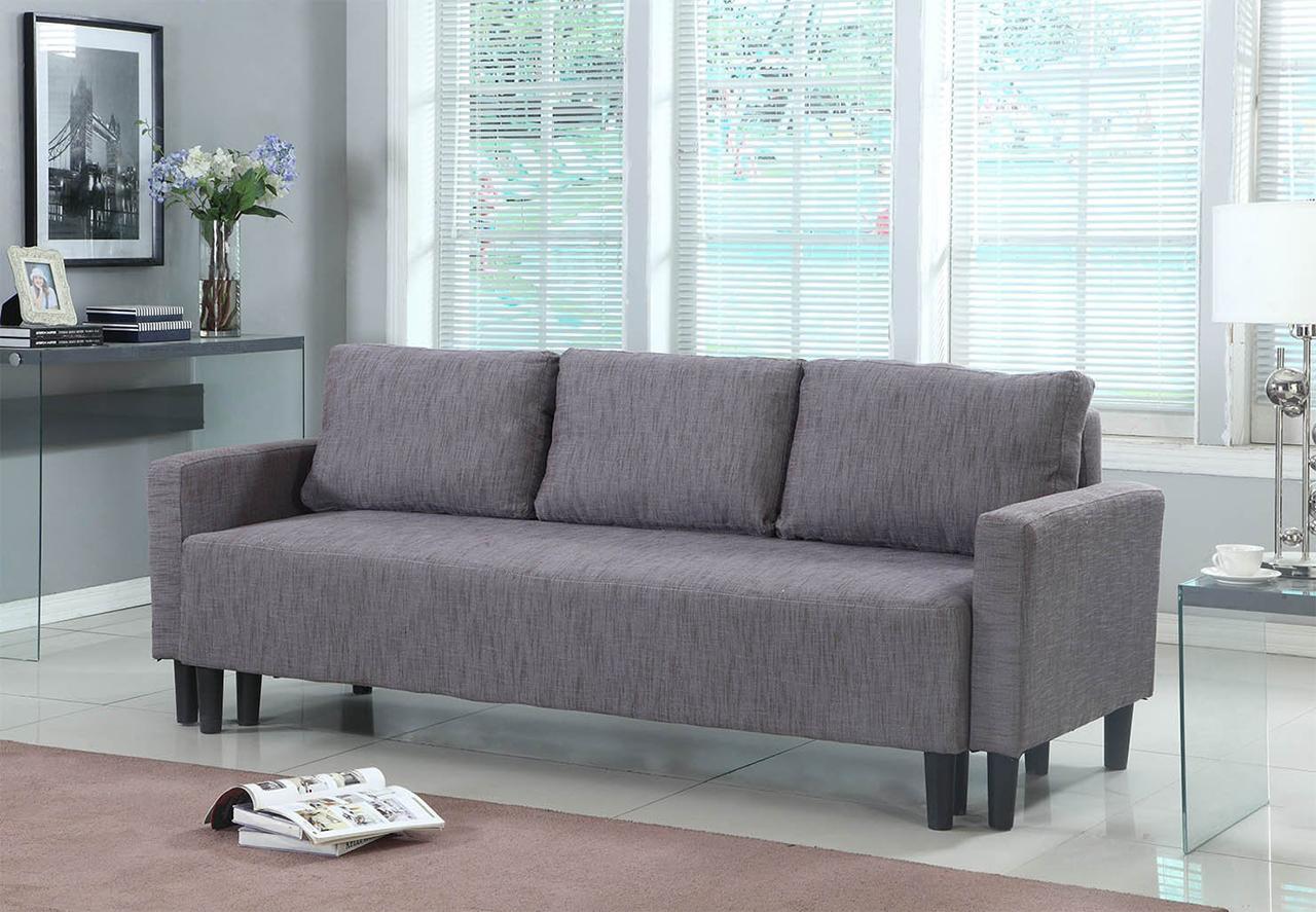 Sleeper Sofa - Modern Contemporary Upholstered Quality Sleeper Sofa Futon in Grey-Brown