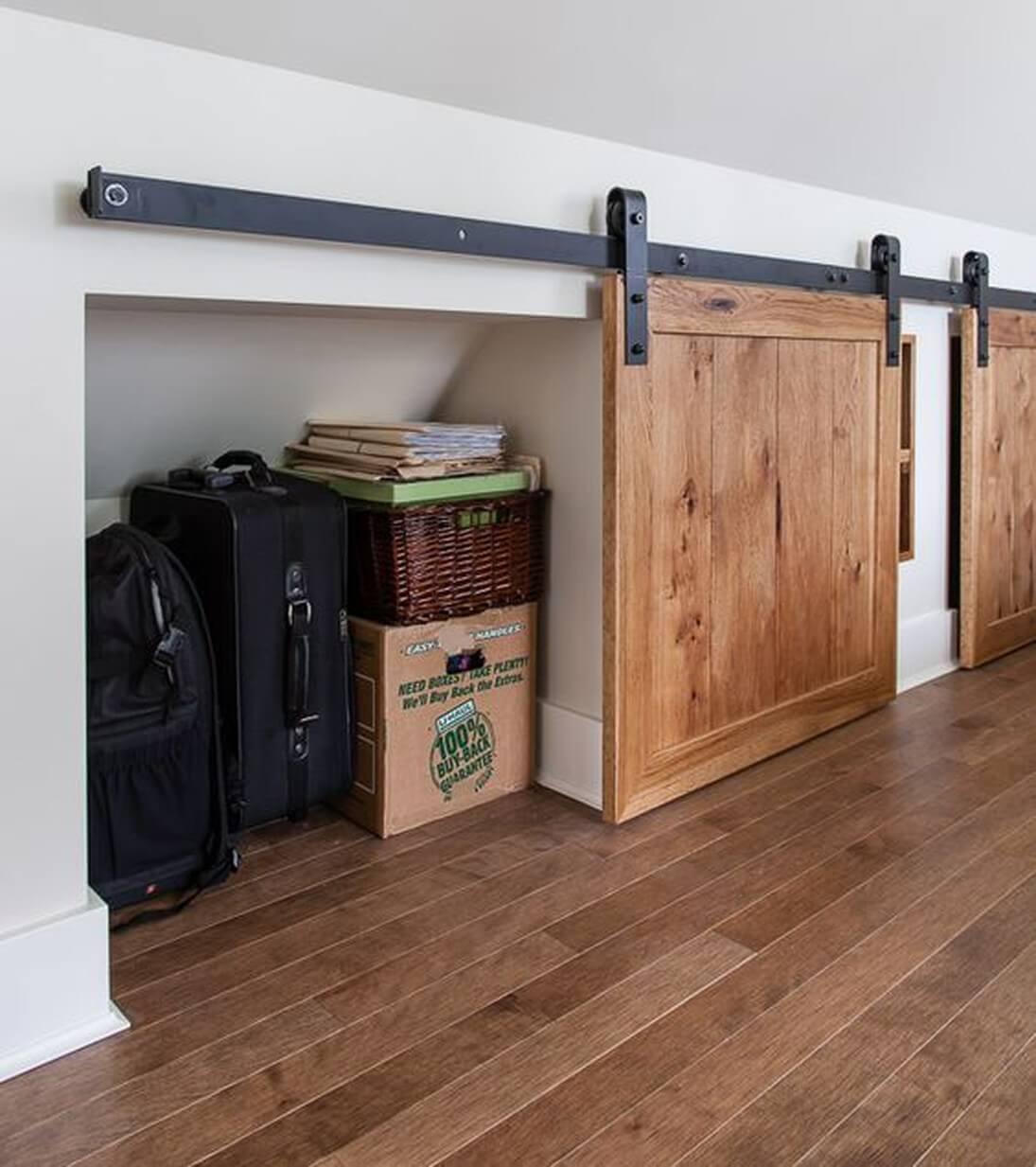 Sliding Barn Door Storage Nooks