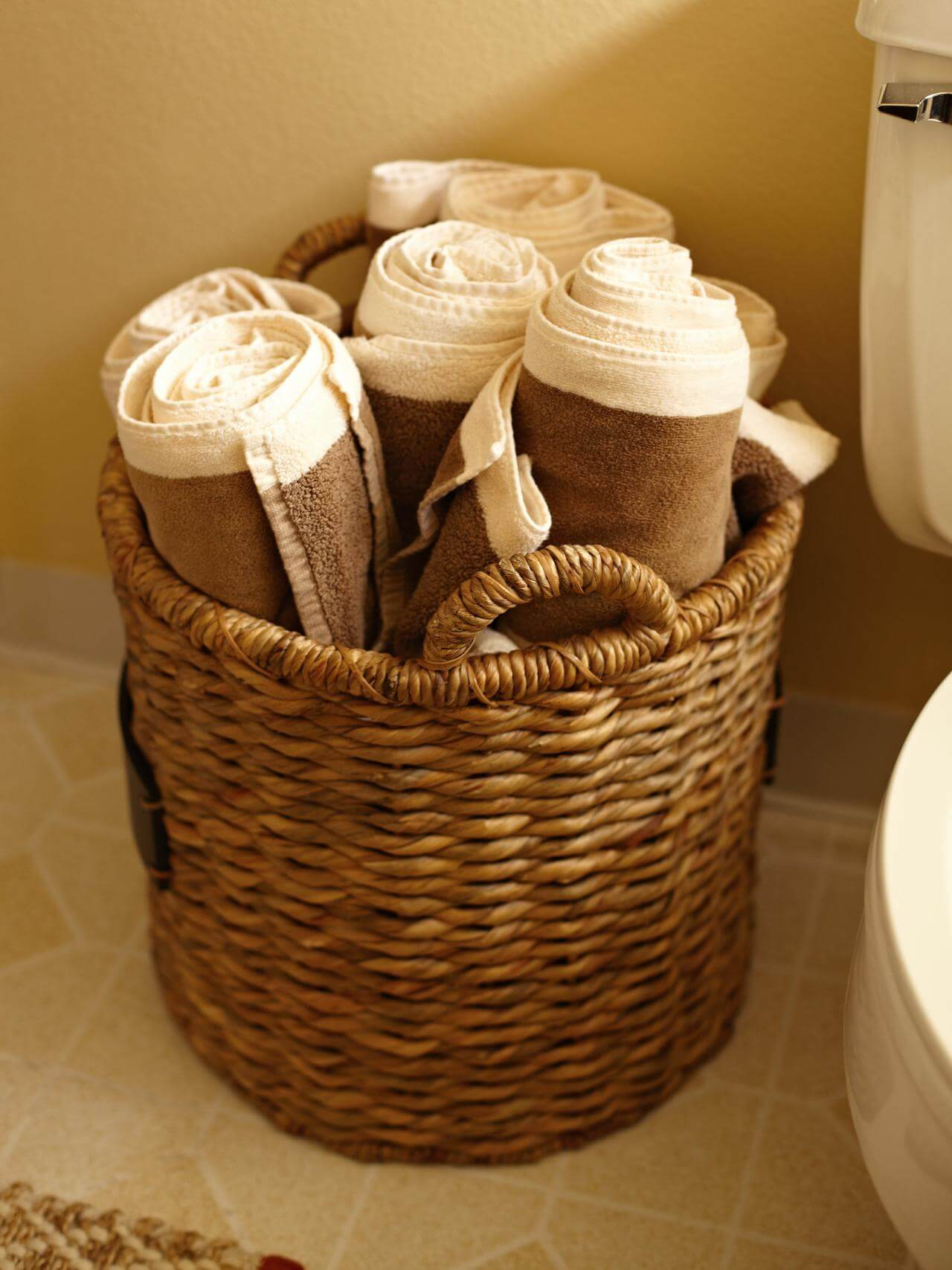Woven Provincial Rolled Towel Basket
