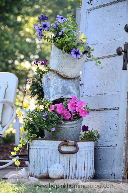 Galvanized Metal Bucket Flower Planter Display