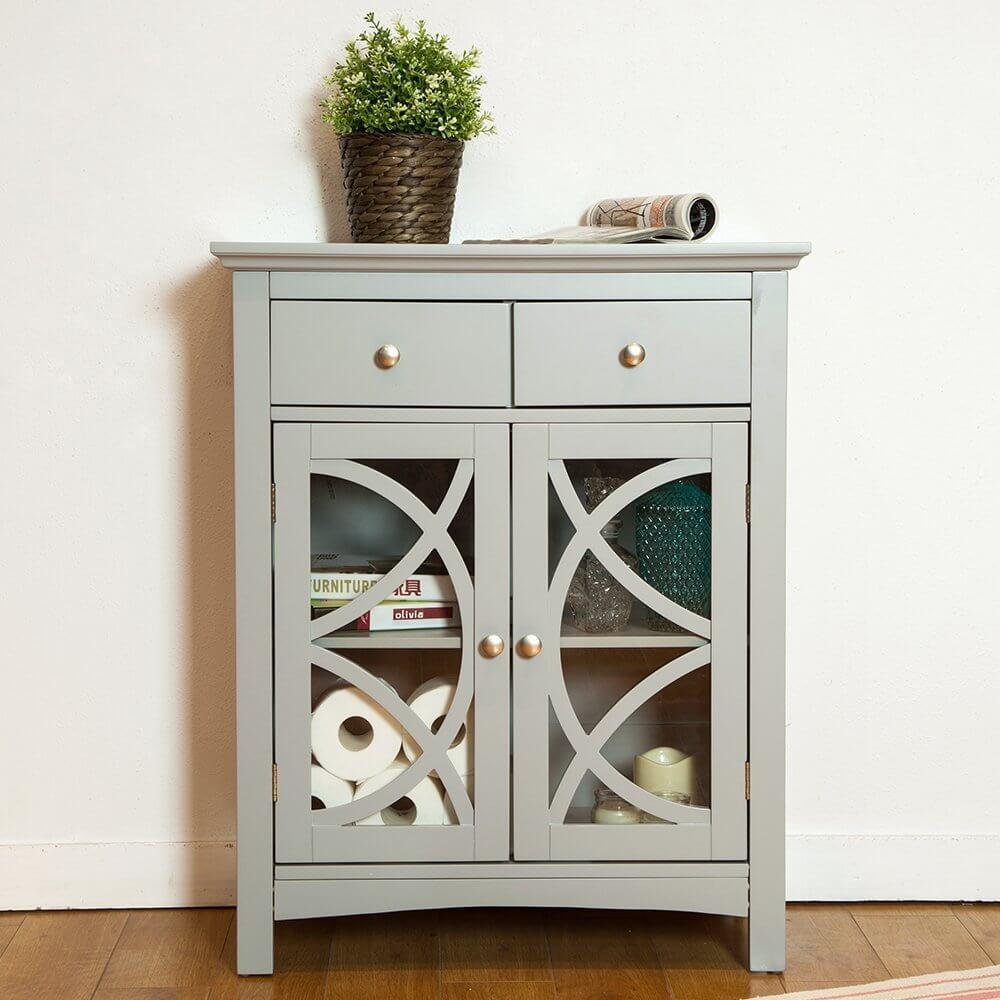 Glitzhome Wooden Free Standing Storage Cabinet