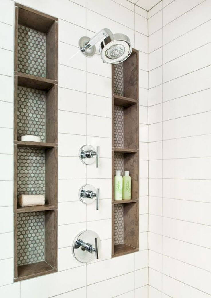 Built-in Shower Storage Columns with Decorative Tile