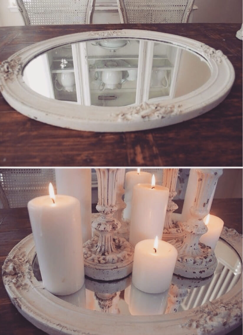 From Old Frame to Mirrored Candle Tray