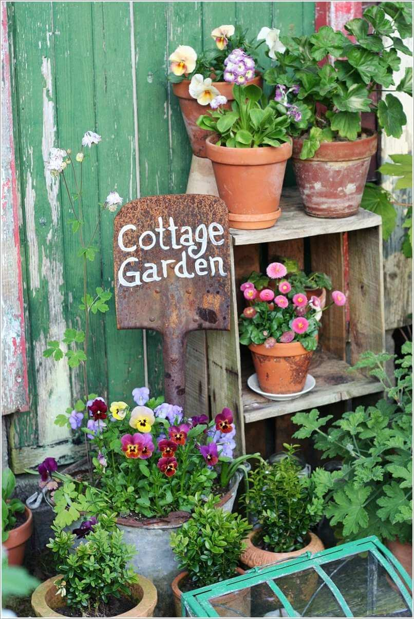 Outdoor Shelving with Shovel Sign