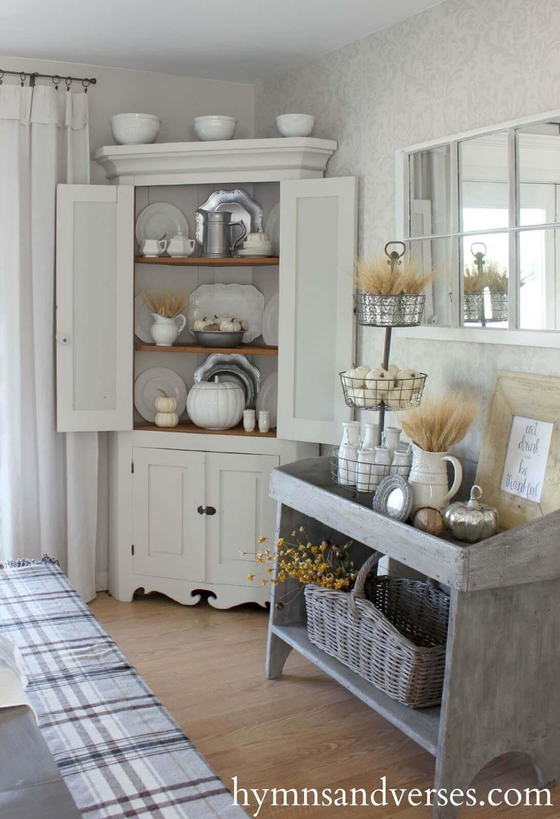 Elegant All White Built-In Corner Cabinet