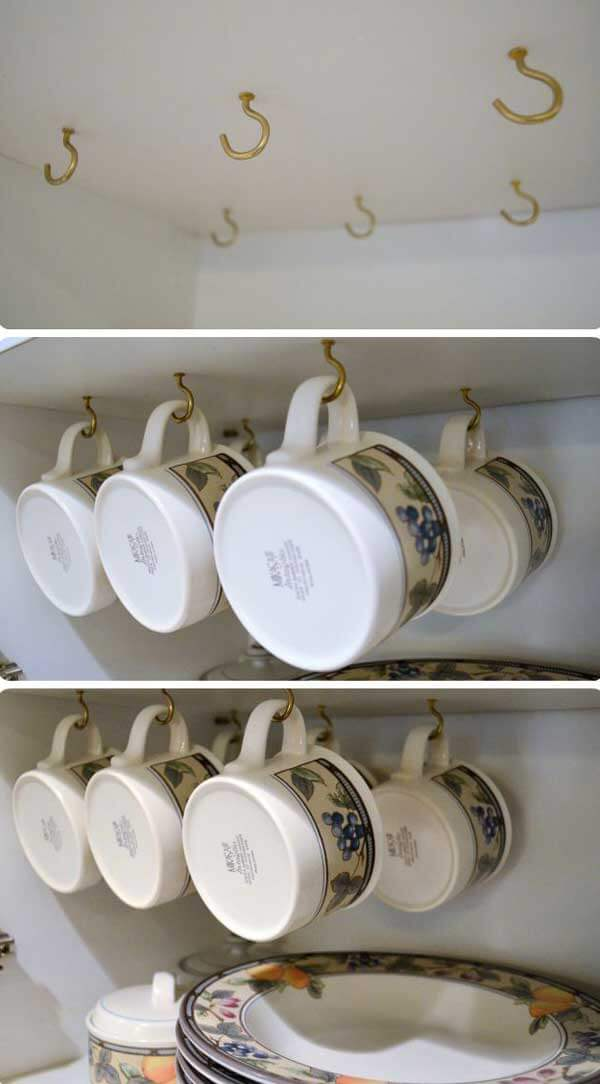 Cup Hooks Inside Your Cabinets