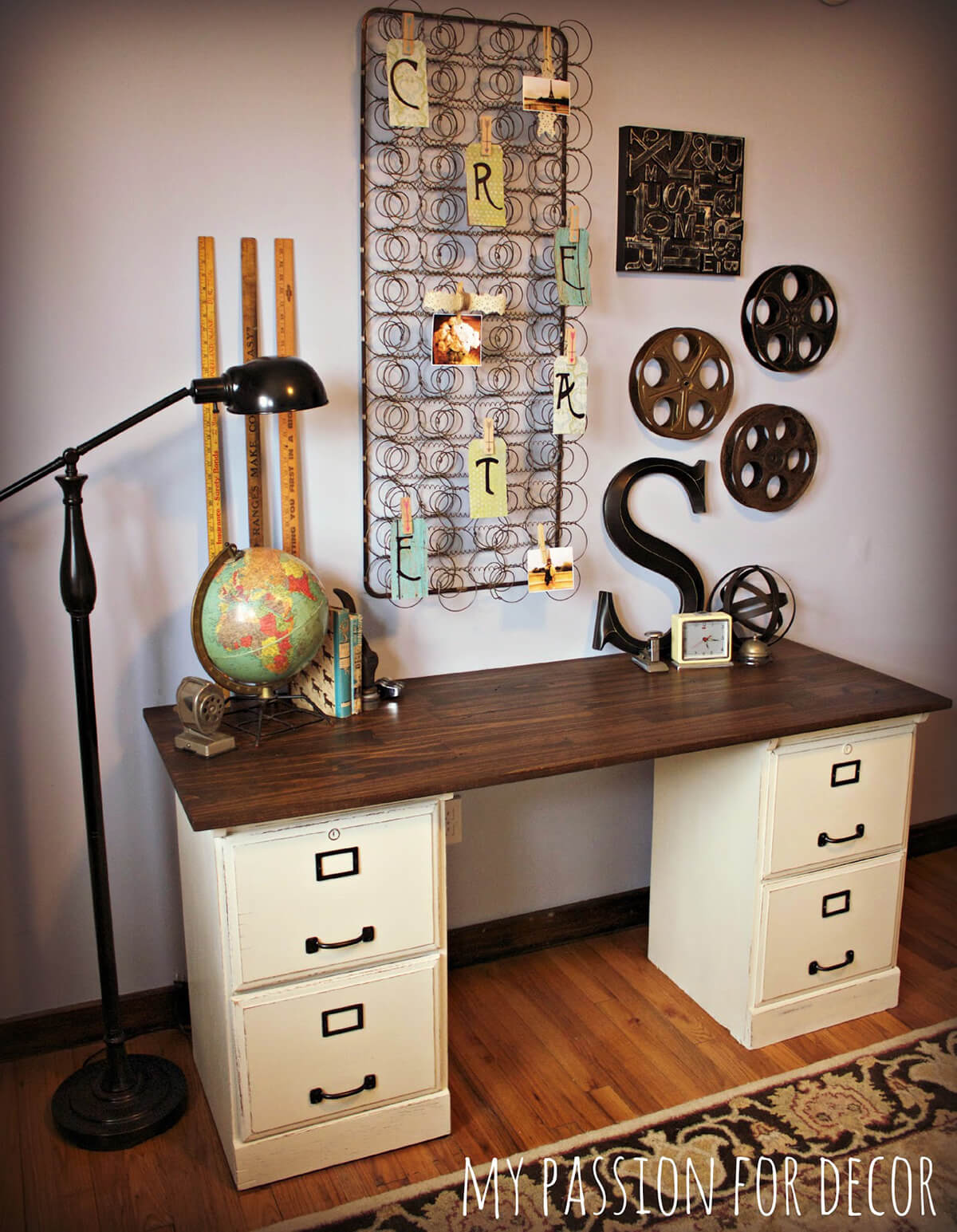 Simple Desk with File Cabinets and Top