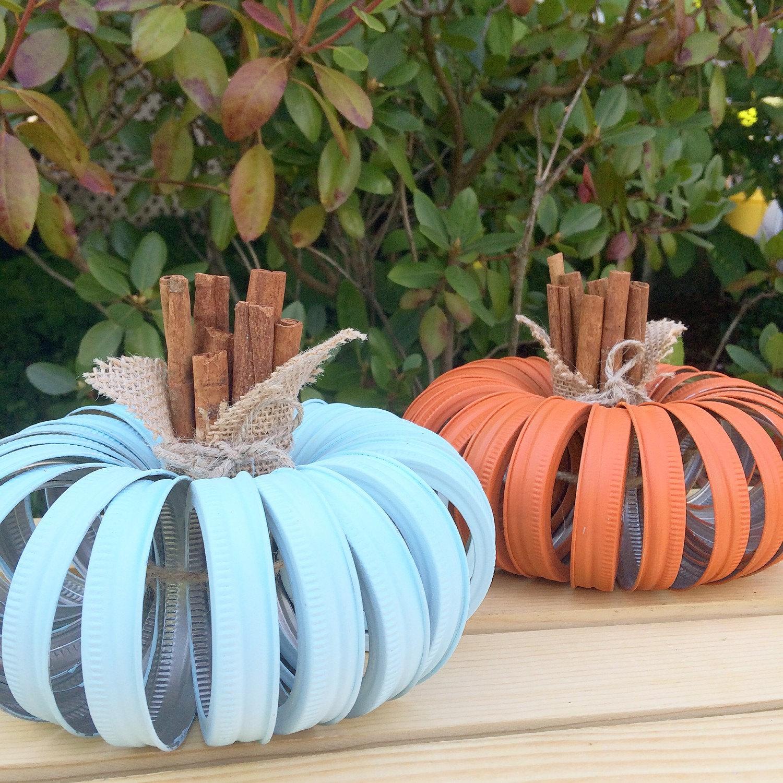 Shabby Chic Mason Lid Pumpkins
