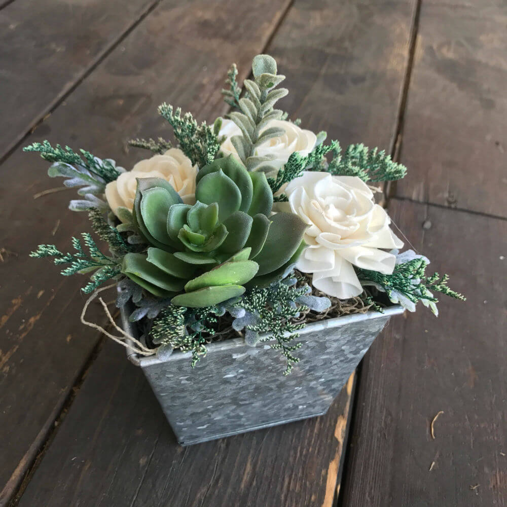 Customizable Faux Succulent and Soft Wood Flower Box
