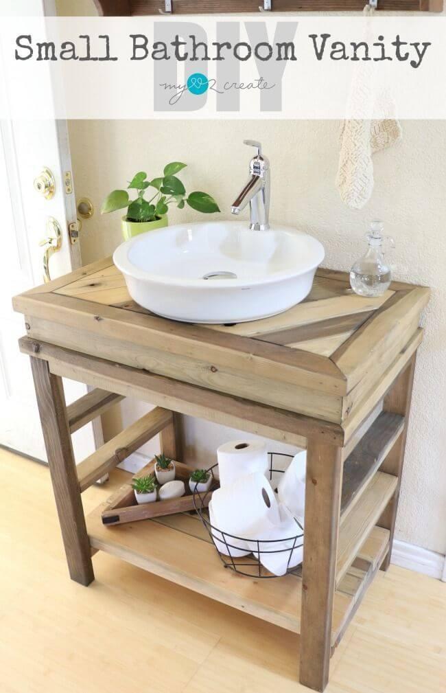 DIY Rustic Wood Bathroom Vanity