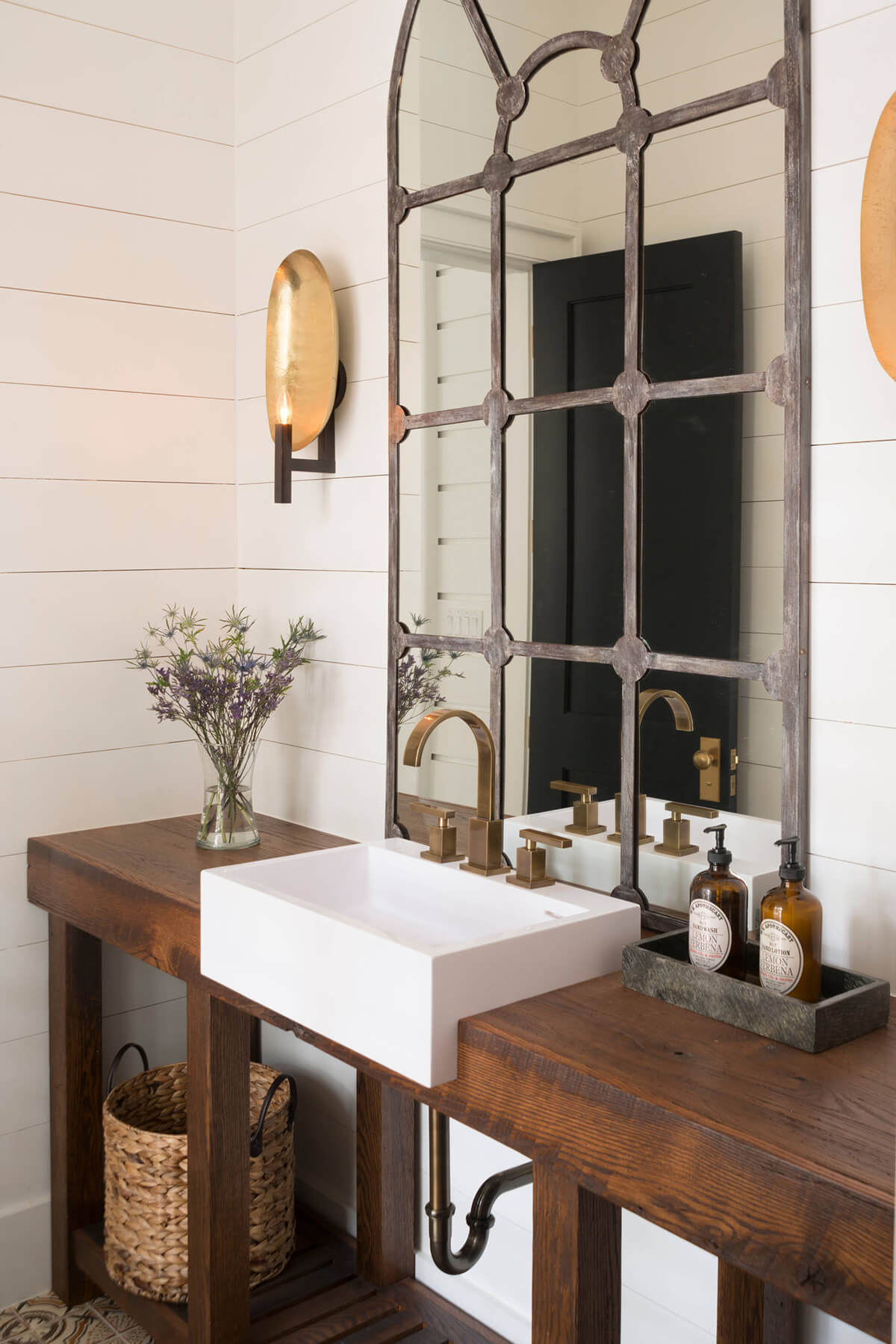 Mullioned Window Mirror over a Farmhouse Sink