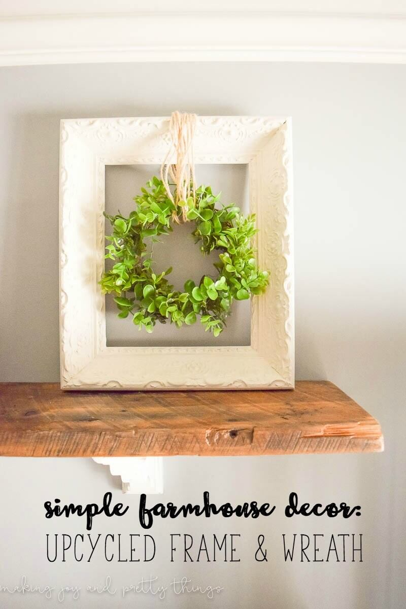 Upcycled Square Frame and Greenery Wreath