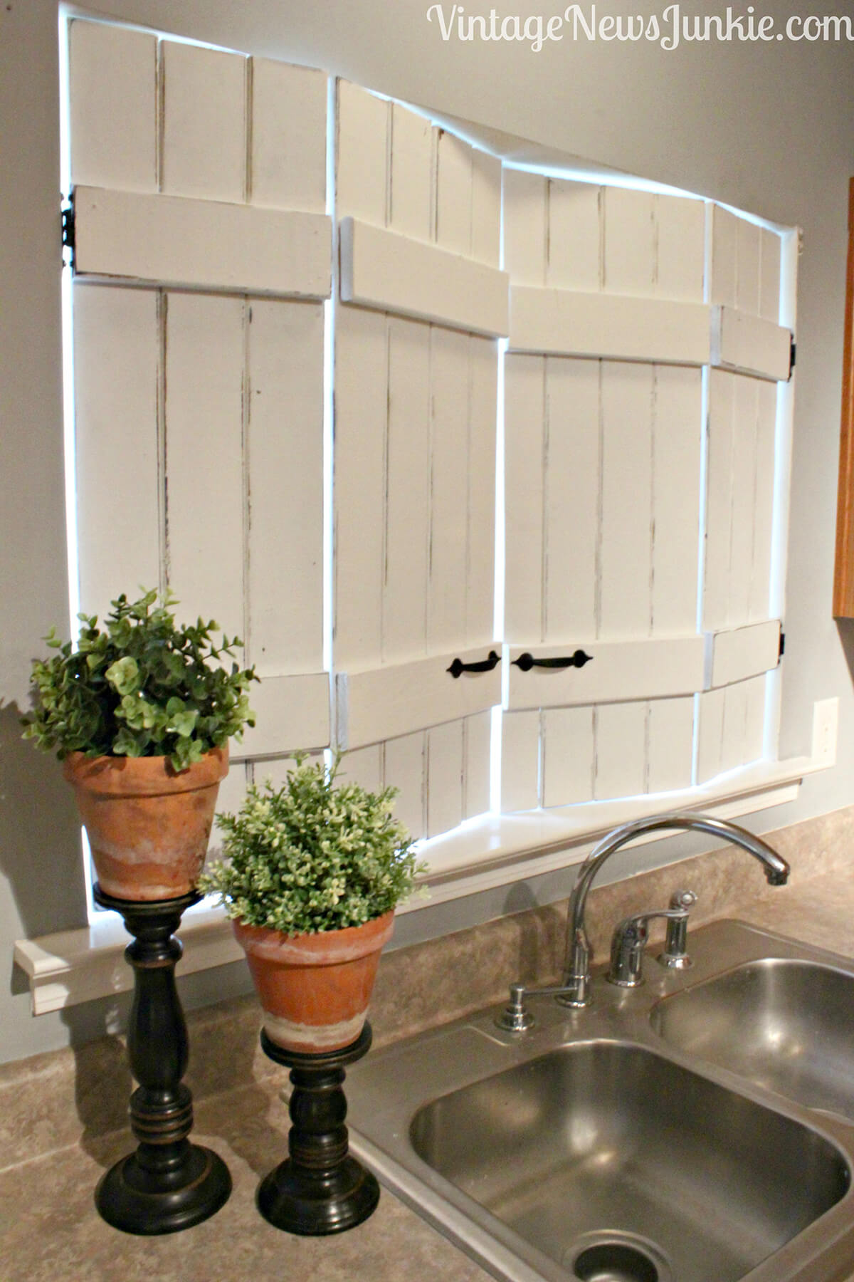 Rustic White Window Shutters in the Kitchen