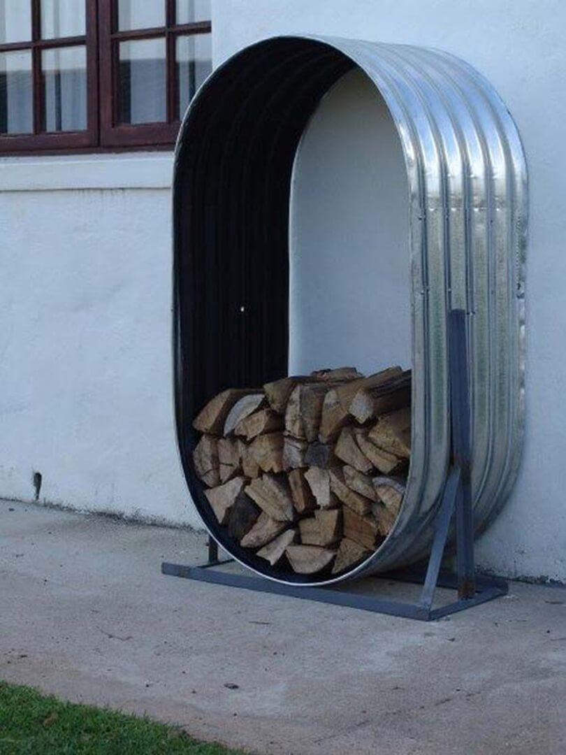 Firewood Stays Organized in Galvanized Tub