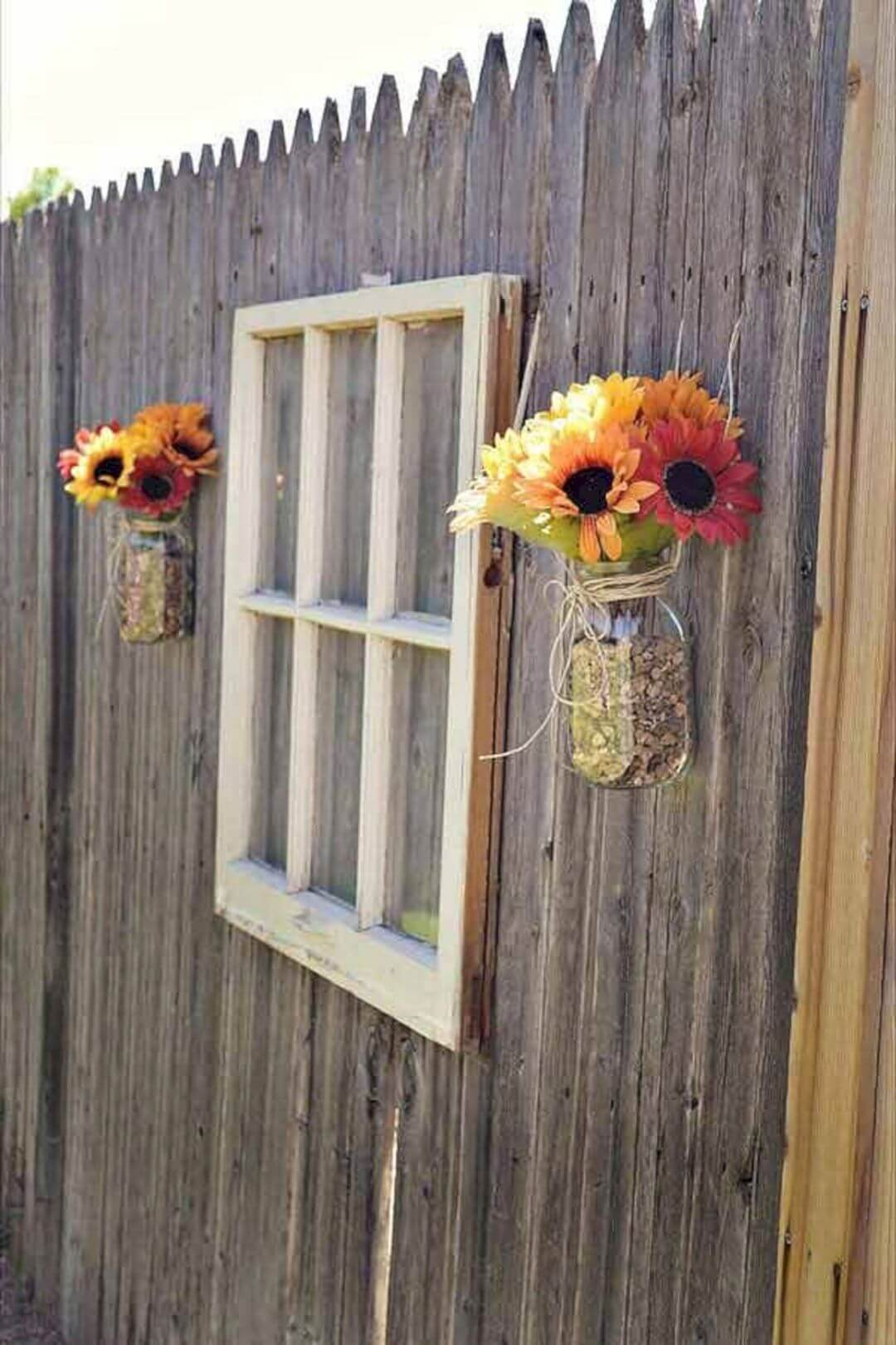 Reused Old Window with Charming Sunflowers