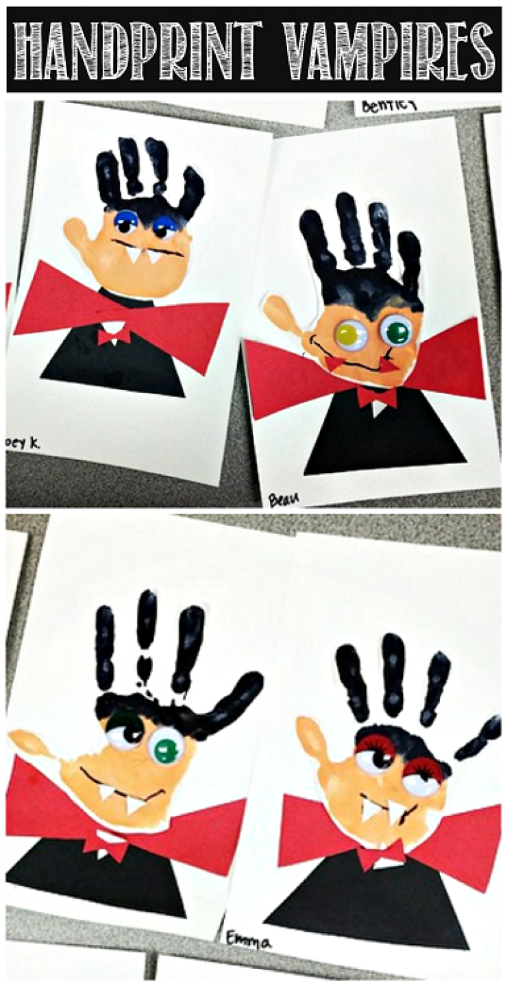Painted Hand Print Dracula Halloween Decoration