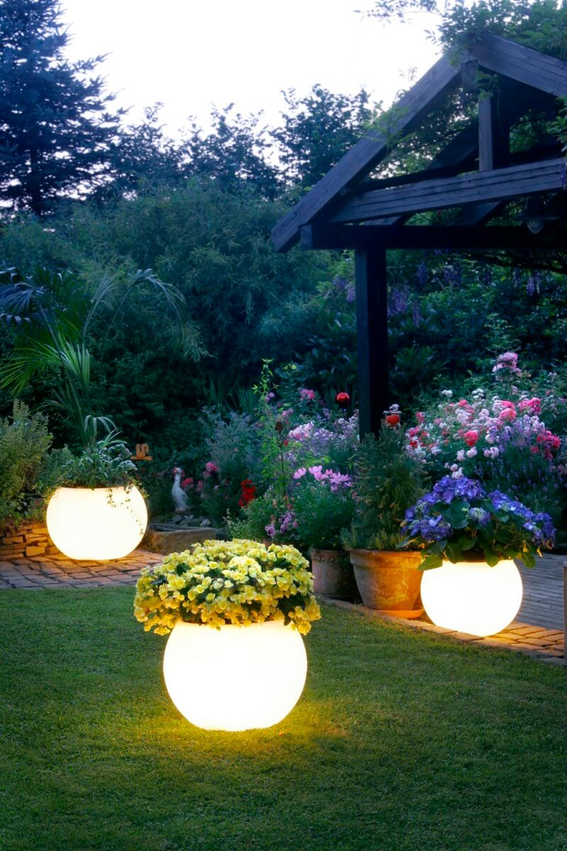 Large Light Up Planters with Flowers