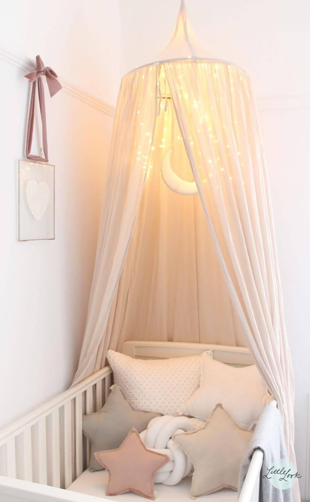 Soften Night Lights Inside a Net Canopy