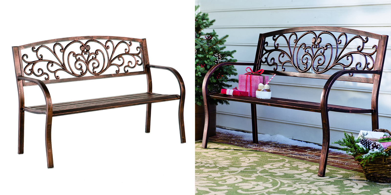 Patio Chair - Bronze Finish Blooming Garden Bench