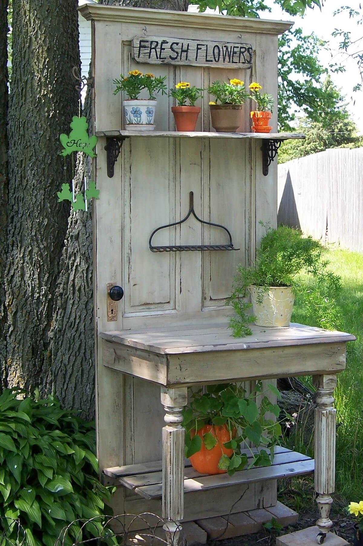 Repurposed Old Door Potting Bench Idea