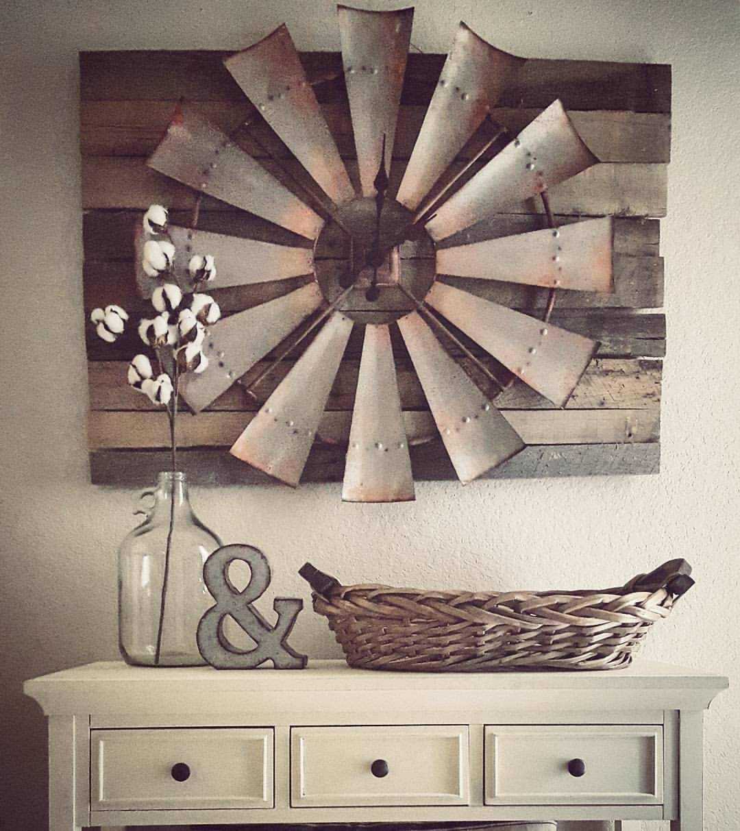 Over-sized Windmill and Barn Wood Wall Clock