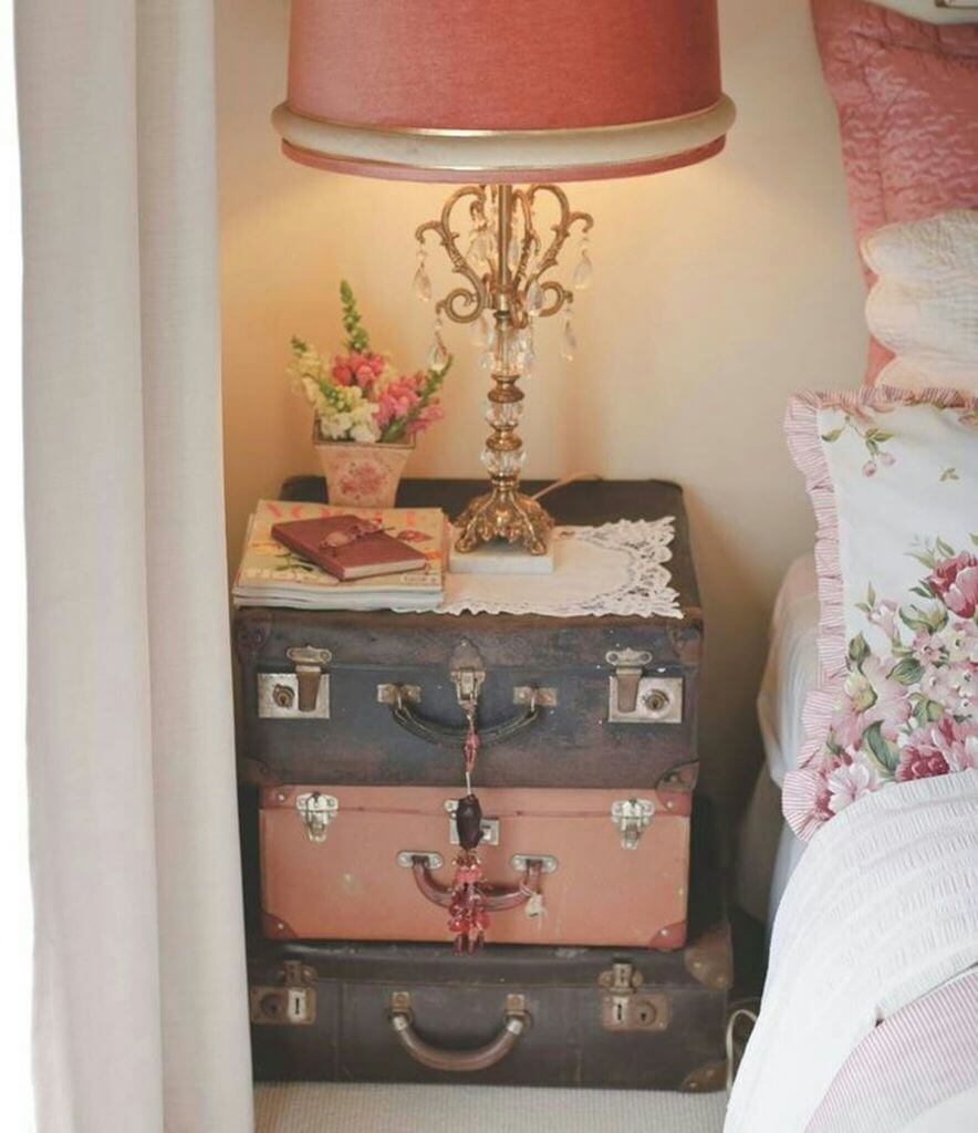 Antique Suitcase Night Table Project