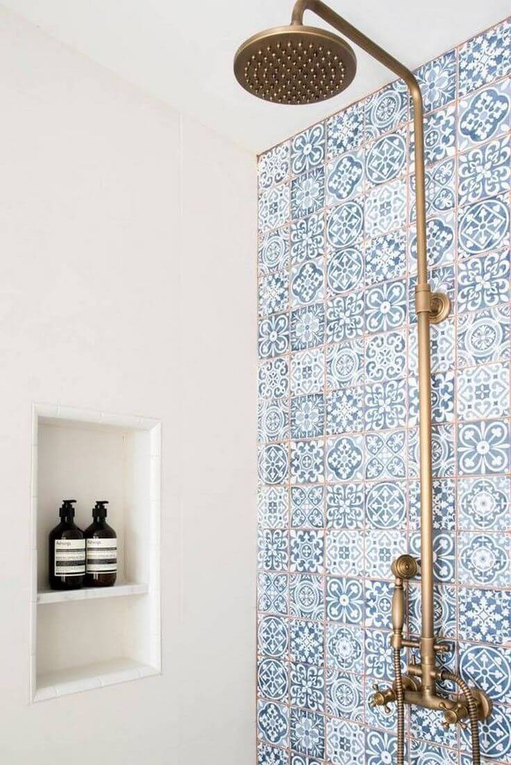 Tunisian Kasbah Blue Shower Tiles