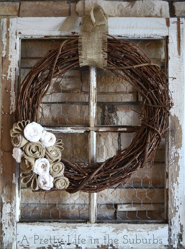 Farm Fresh Barn Window Wreath Display
