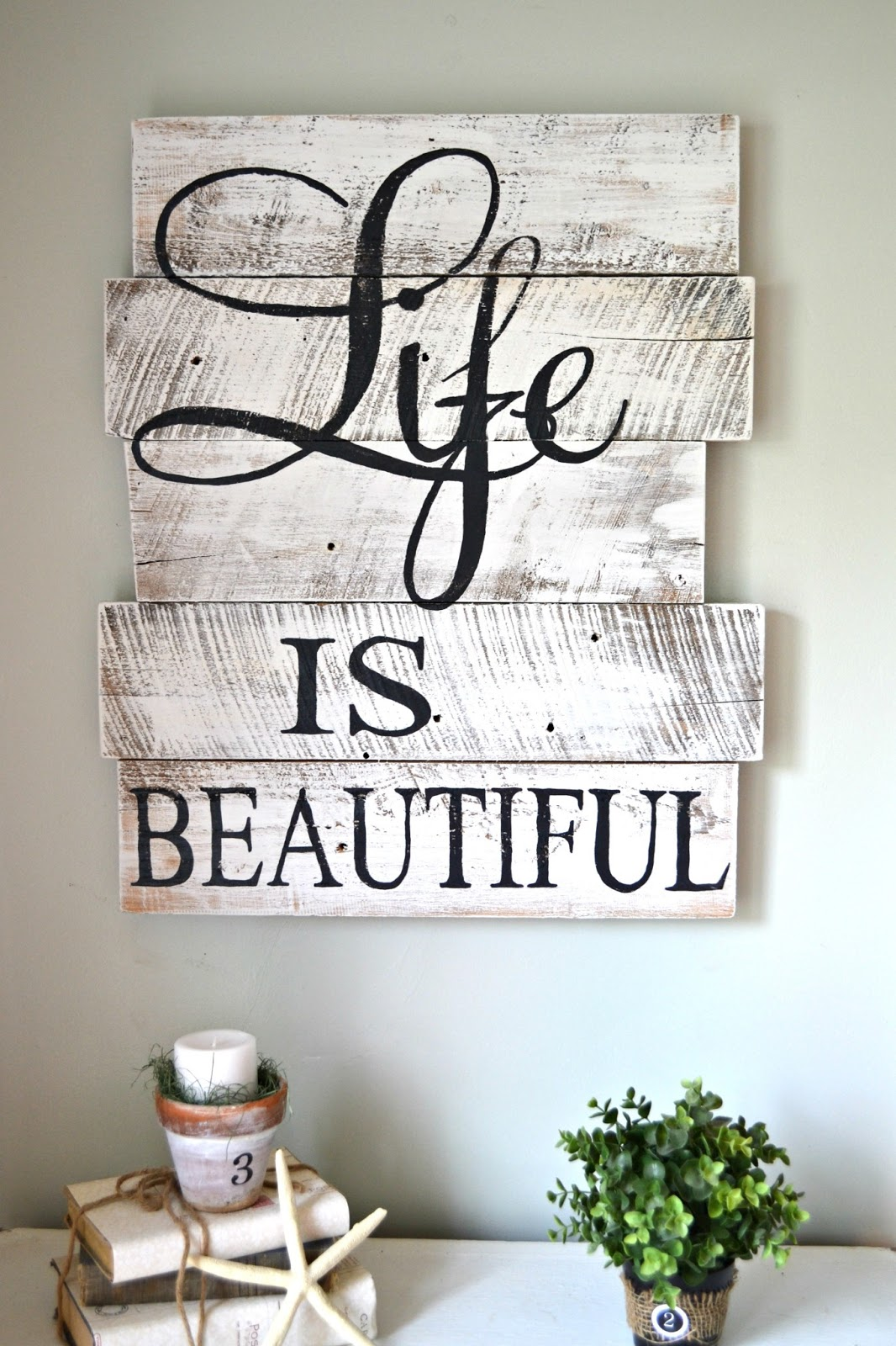 "Reclaimed Wood ""Life is Beautiful"" Living Room Decor"