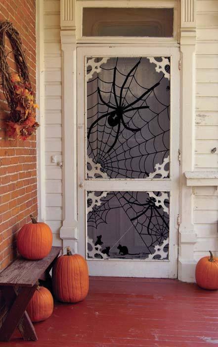 Giant spider Halloween door