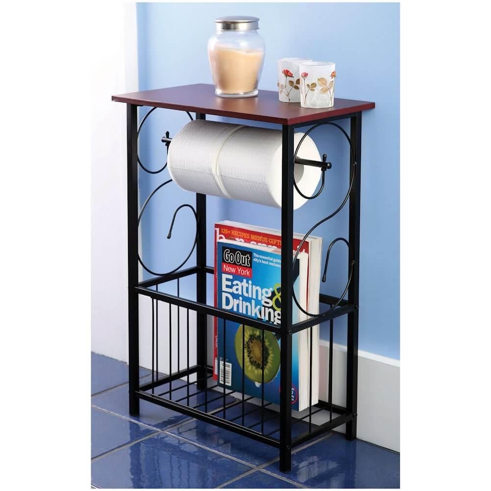 Scroll Design Bathroom Table and Magazine Rack