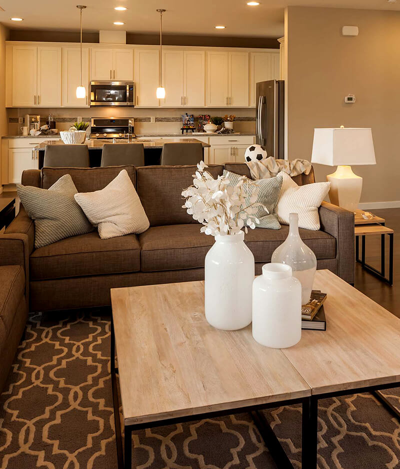 Impeccably Staged Beige Living Room Ideas