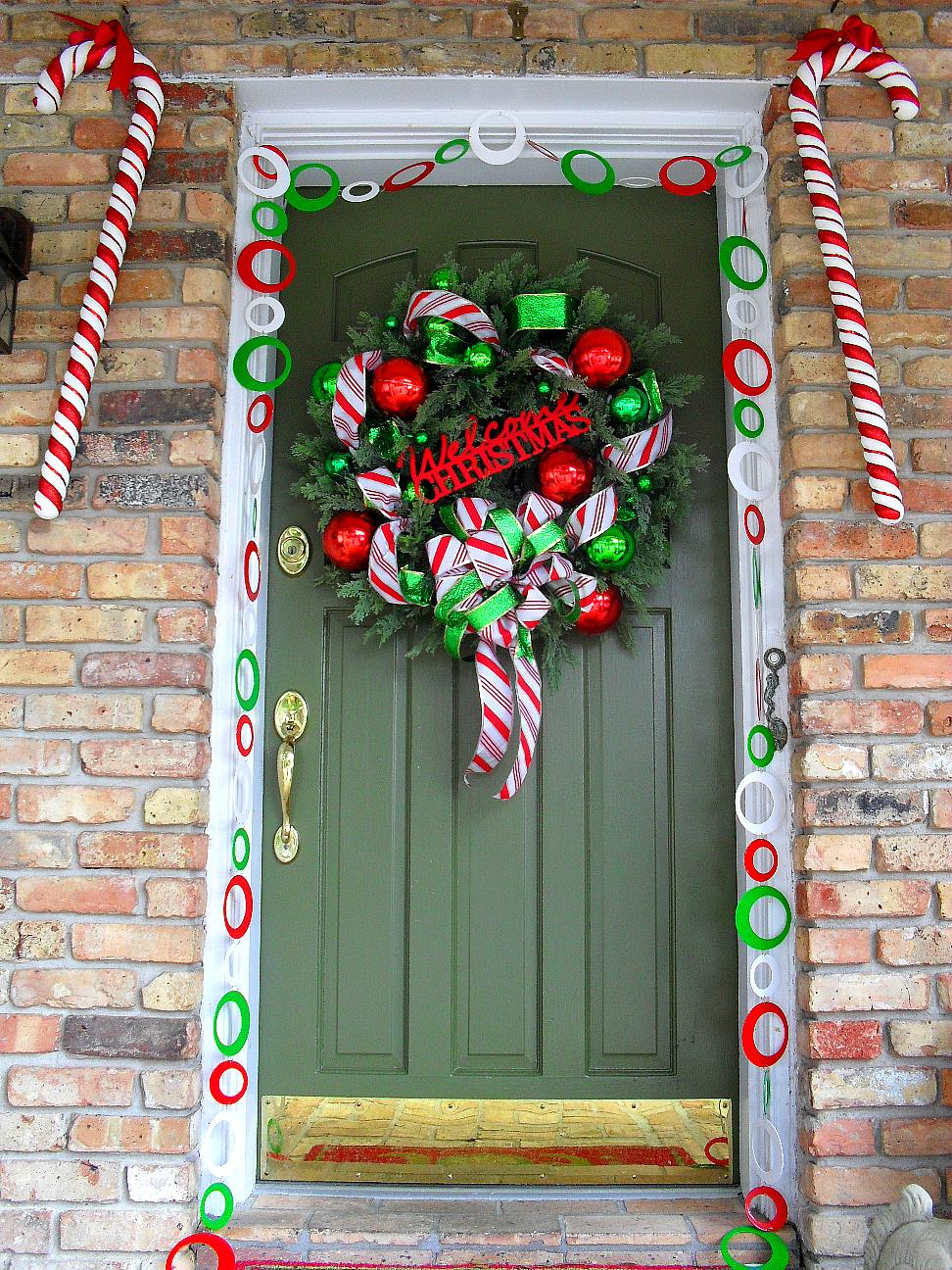 Welcome To Candy Cane Lane Door Decoration