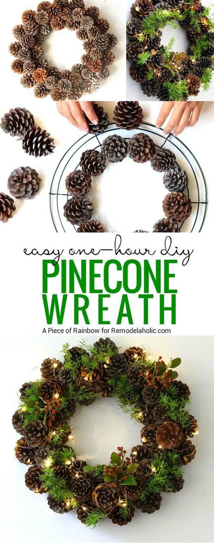 DIY Wreath with Pinecones and Greens